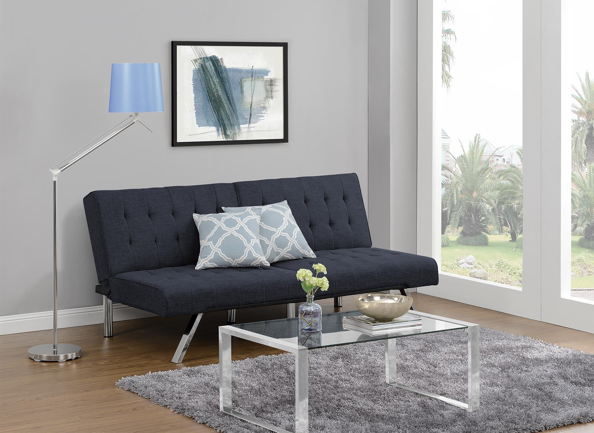 DHP Emily Futon Couch Bed, Modern Sofa Design Includes Sturdy Chrome Legs and Rich Linen Upholstery, Navy by DHP