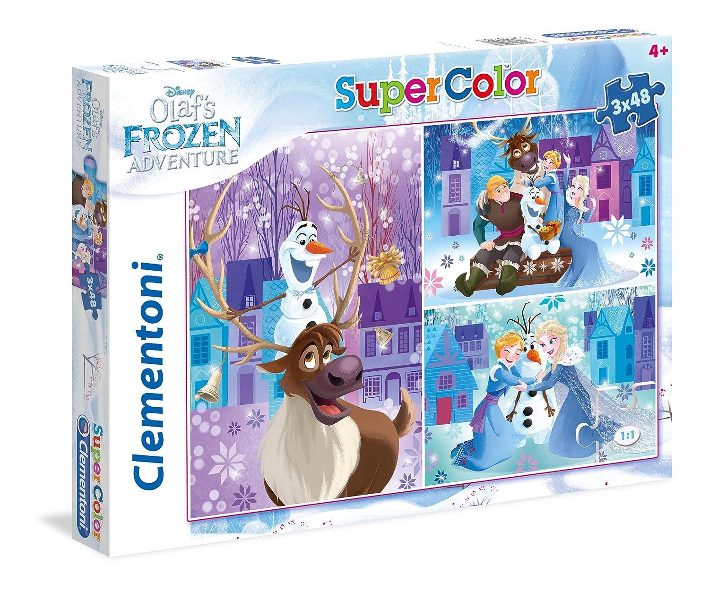 Clementoni - 25228 - Supercolor Puzzle - Olaf's Frozen Adventure - 3 x 48 Piè ces - Disney