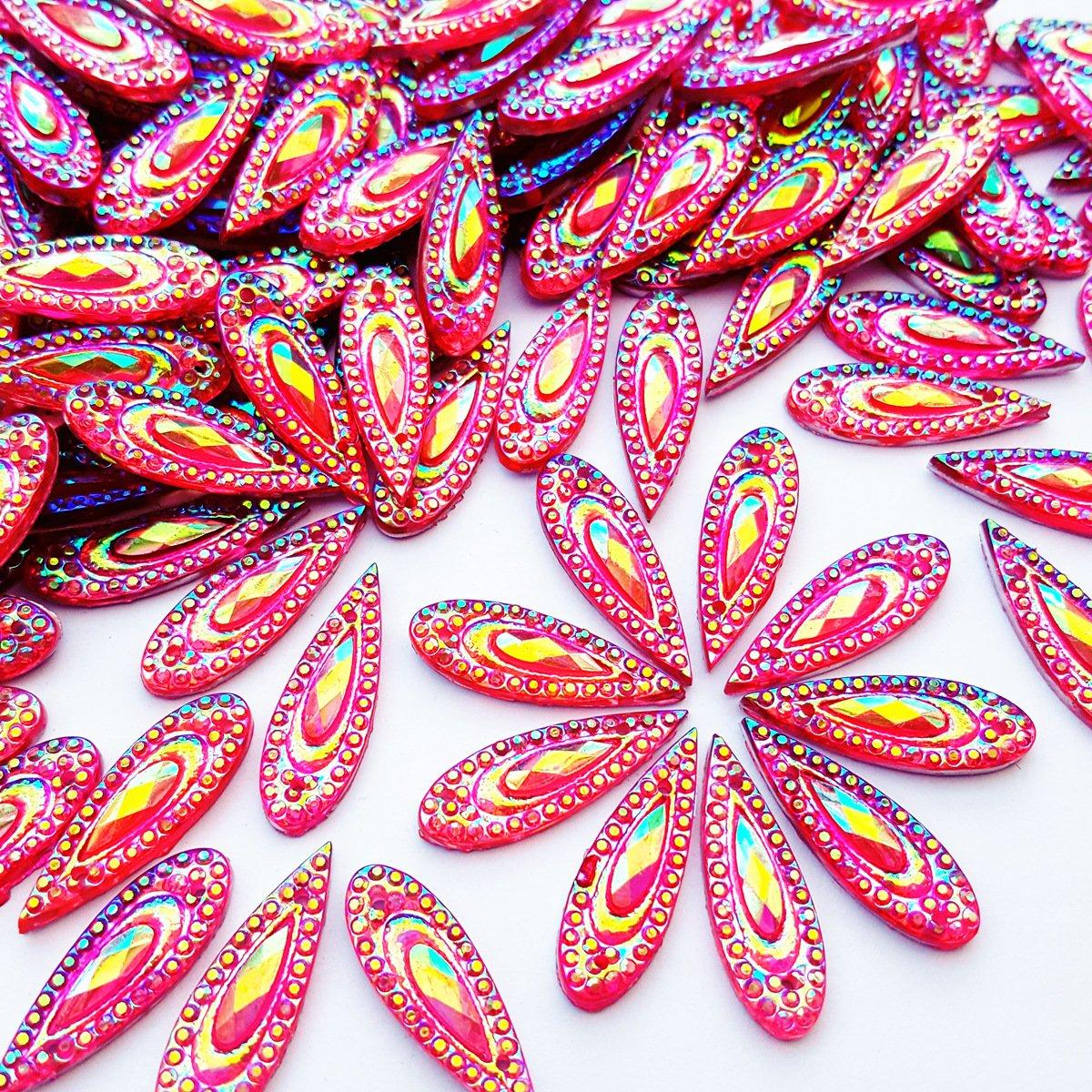 ゴージャスな驚くほどドロップピンクAB Sew onラインストーンFlatbackビーズストーン裁縫ウェディングドレス用デコレーション2穴7 x 21 mm 100個 B075KM6BZS