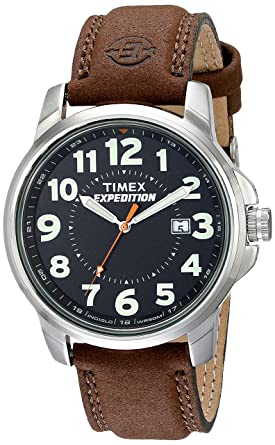 timex watches product brown mens watch jewelry free men leather strap scout s expedition