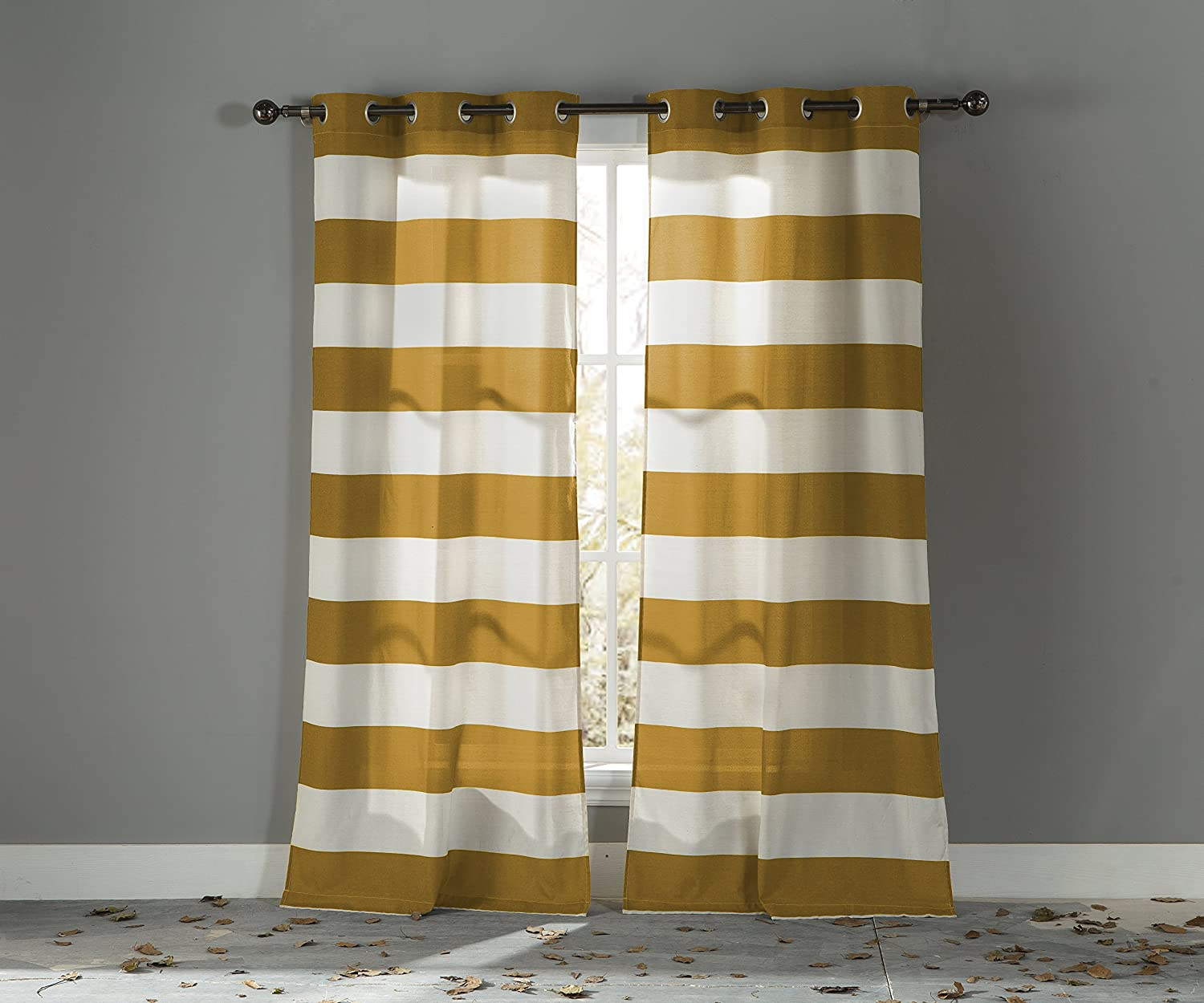 Duck River Textiles KAQMU=12/10016 2 Piece Kathi Stripe Cotton Grommet Pair Panel Mustard