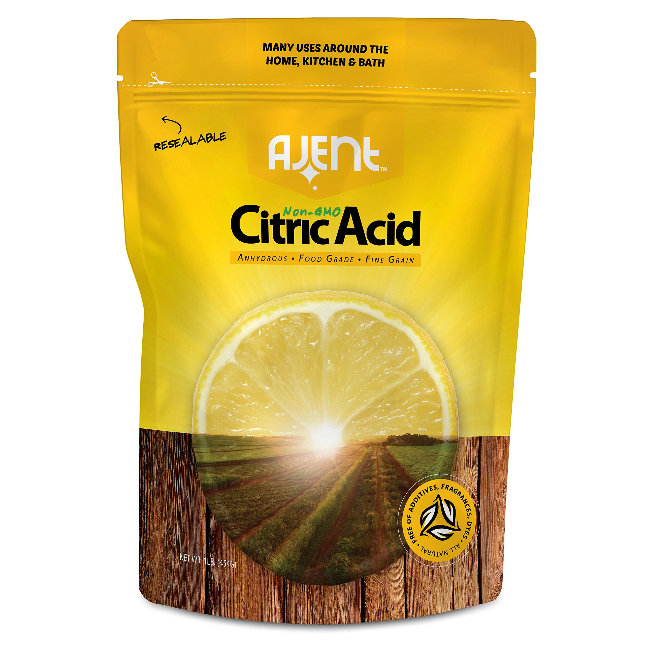 Ajent Citric Acid 100% Pure Food Grade Non-GMO (Approved for Organic Foods) 1 Pound