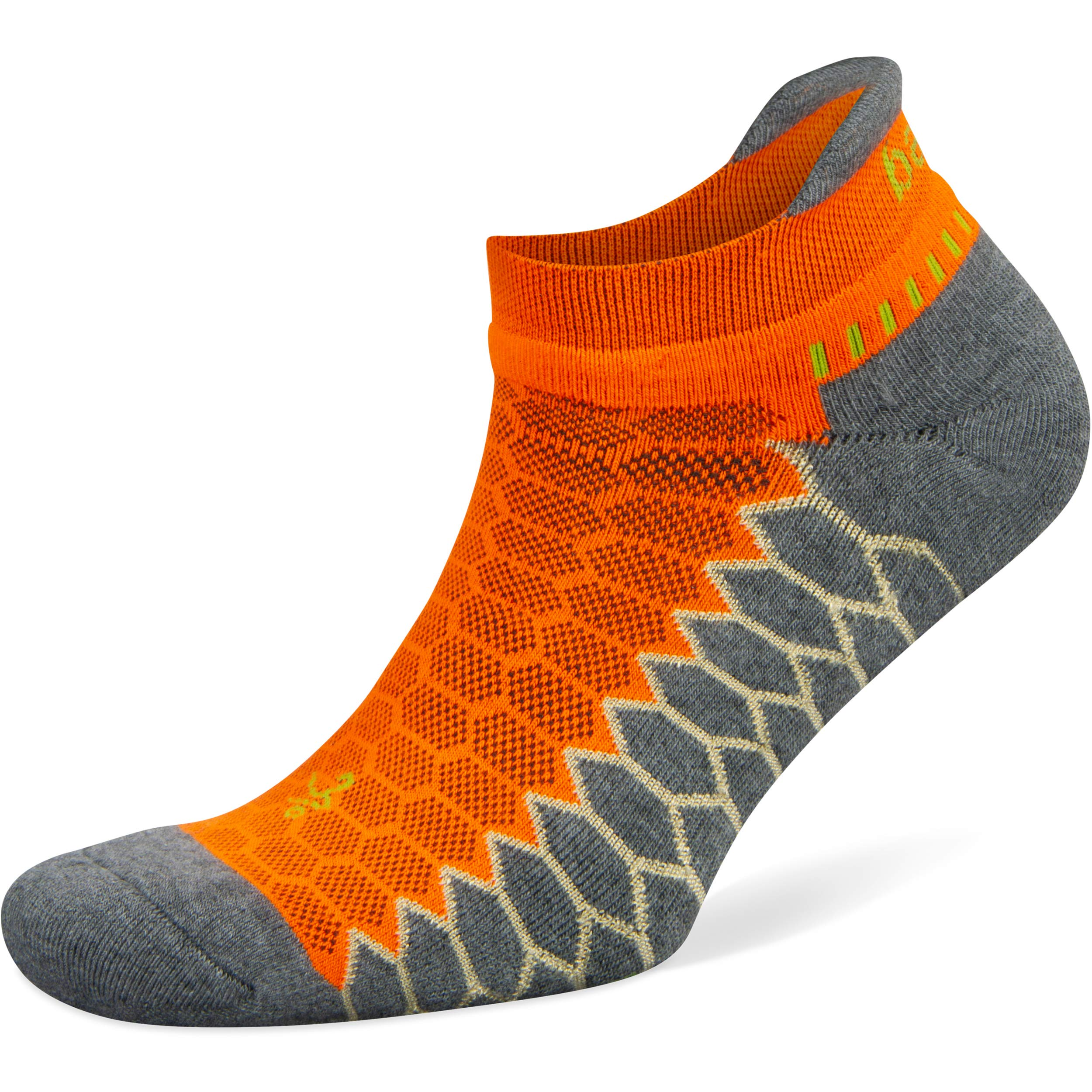 Balega Silver No Show Socks for Men and Women (1 Pair), Neon Orange/Grey Heather, Small by Balega