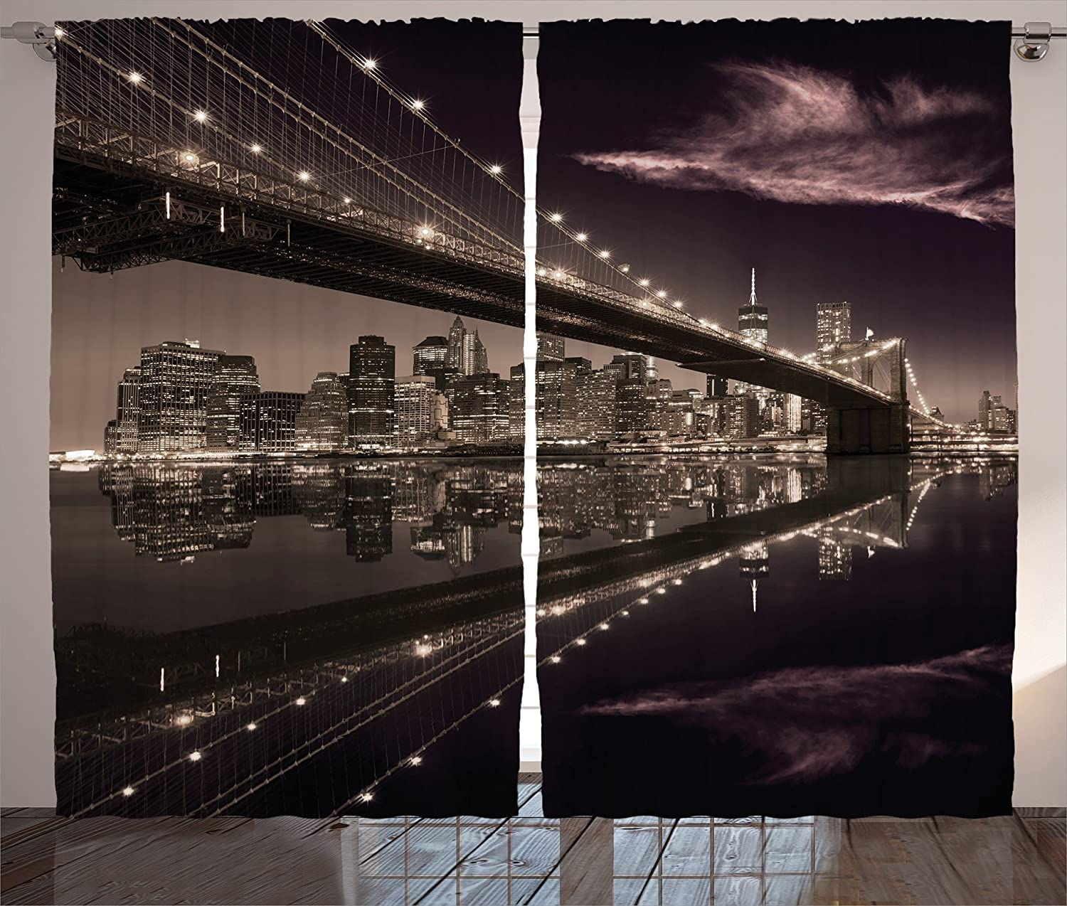"""Ambesonne Landscape Curtains, Brooklyn Bridge Sunset NYC View Skyline Tourist Attraction Modern City, Living Room Bedroom Window Drapes 2 Panel Set, 108"""" X 84"""", Brown Rose"""