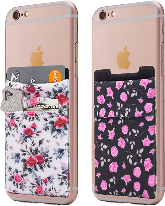 Android and All Smartphones Two Stretchy Cell Phone Stick on Wallet Card Holder Phone Pocket for iPhone