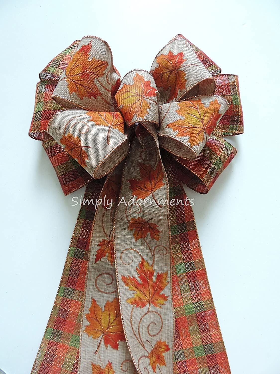 Burnt Orange Fall Leaves Bow Thanksgiving wreath Bow Orange Brown Fall Door Wreath Bow Orange Brown fall Wired Ribbon Bow Fall Plaid Door Hanger Bow