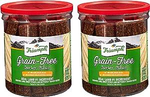 Triumph 2 Pack of Grain-Free Lamb Jerky Bites Dog Treats, 20 Ounces Each