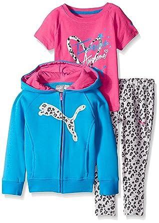 54b30d9deed9 PUMA Little Girls  Toddler 3 Piece Set Zip Jacket Tee and Pant ...