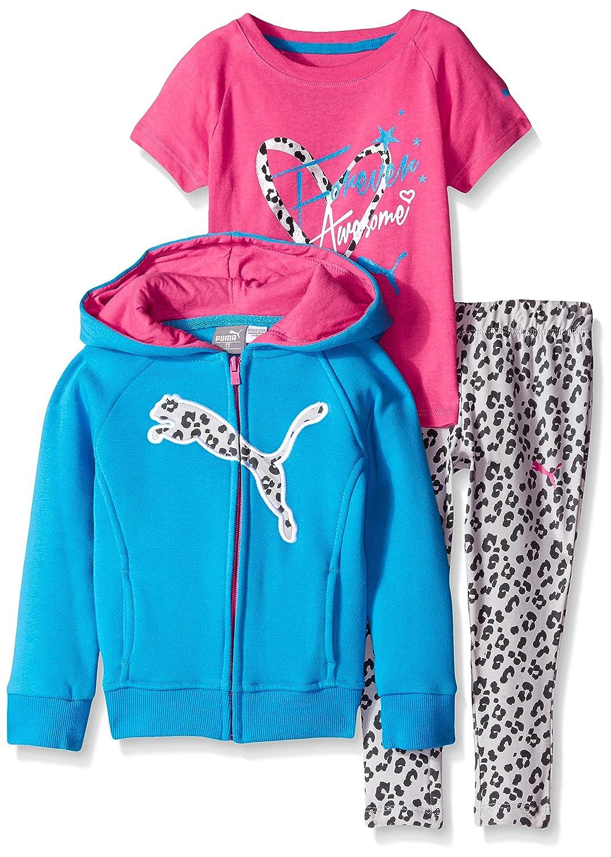 PUMA Girls 3-Piece Set Zip Jacket Tee and Pant