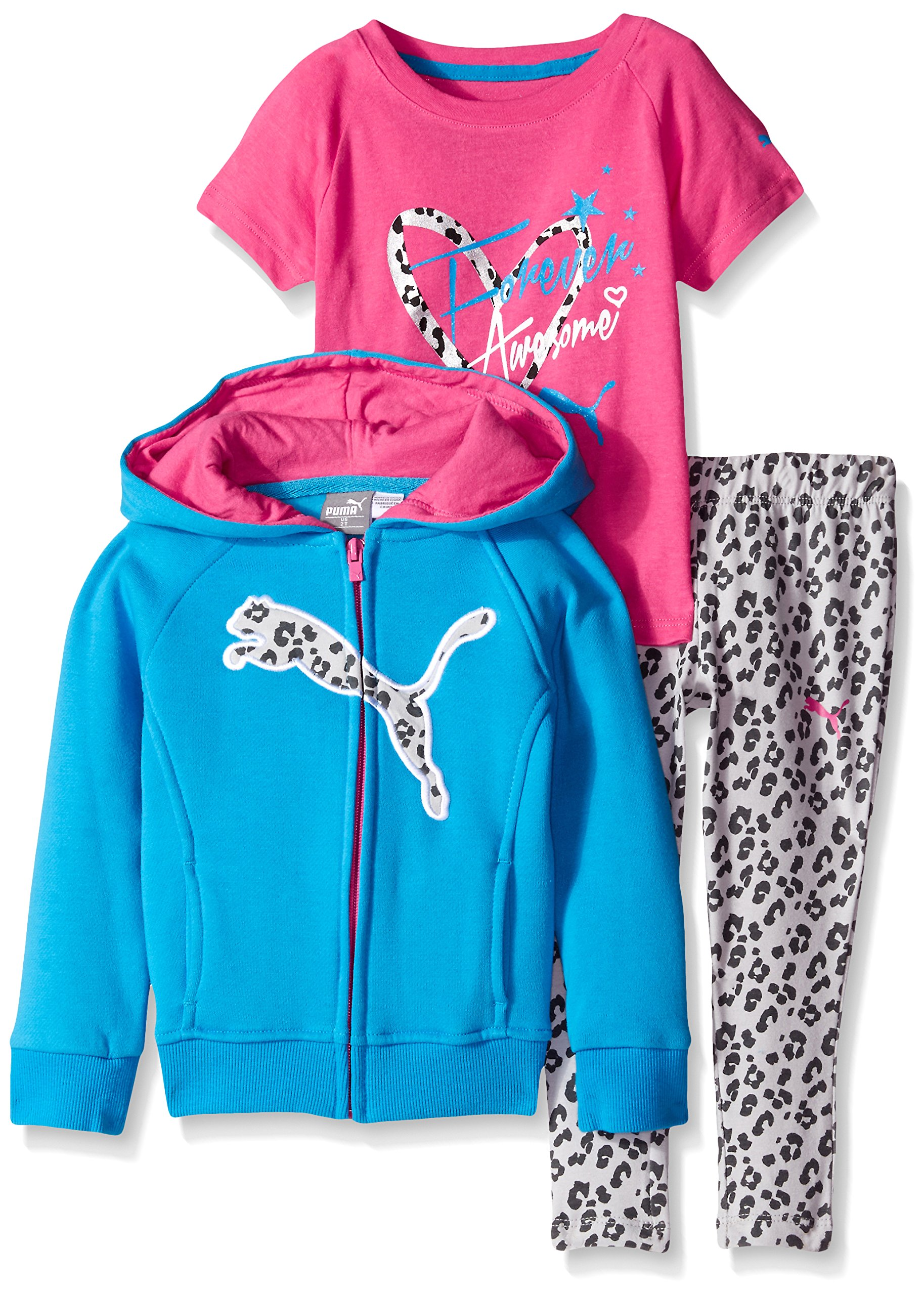 PUMA Girls 3-Piece Set Zip Jacket Tee and Pant product image
