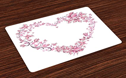 Lunarable Love Place Mats Set Of 4 Floral Love Romantic Shape Heart Of Butterflies Valentine S Day Flowers Ornamental Washable Fabric Placemats For