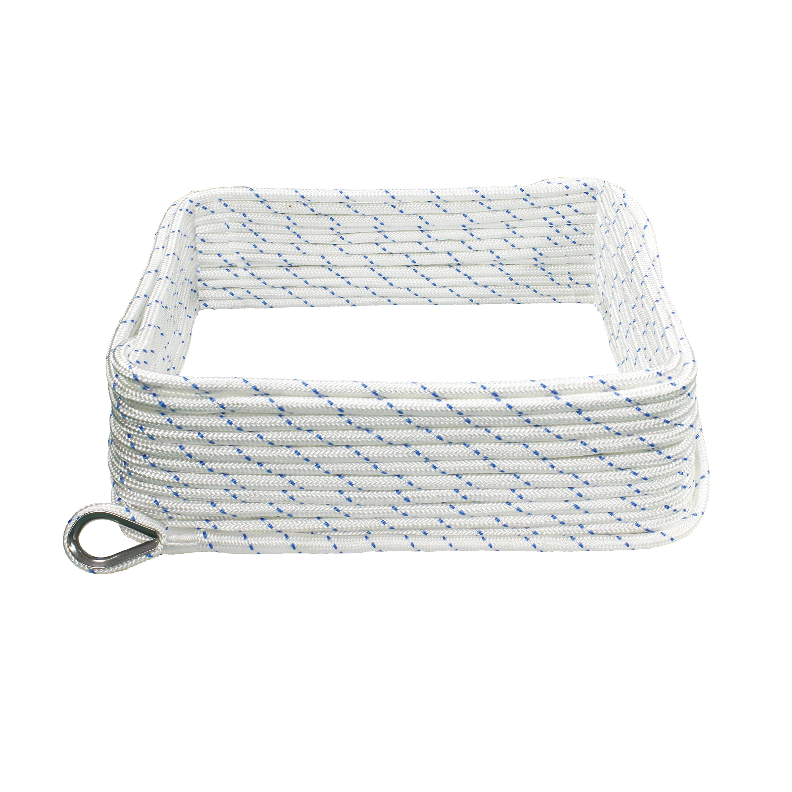 Extreme Max 3006.2496 White with Blue Tracer 3/8'' x 100' Boattector Double Braid Nylon Anchor Line with Thimble