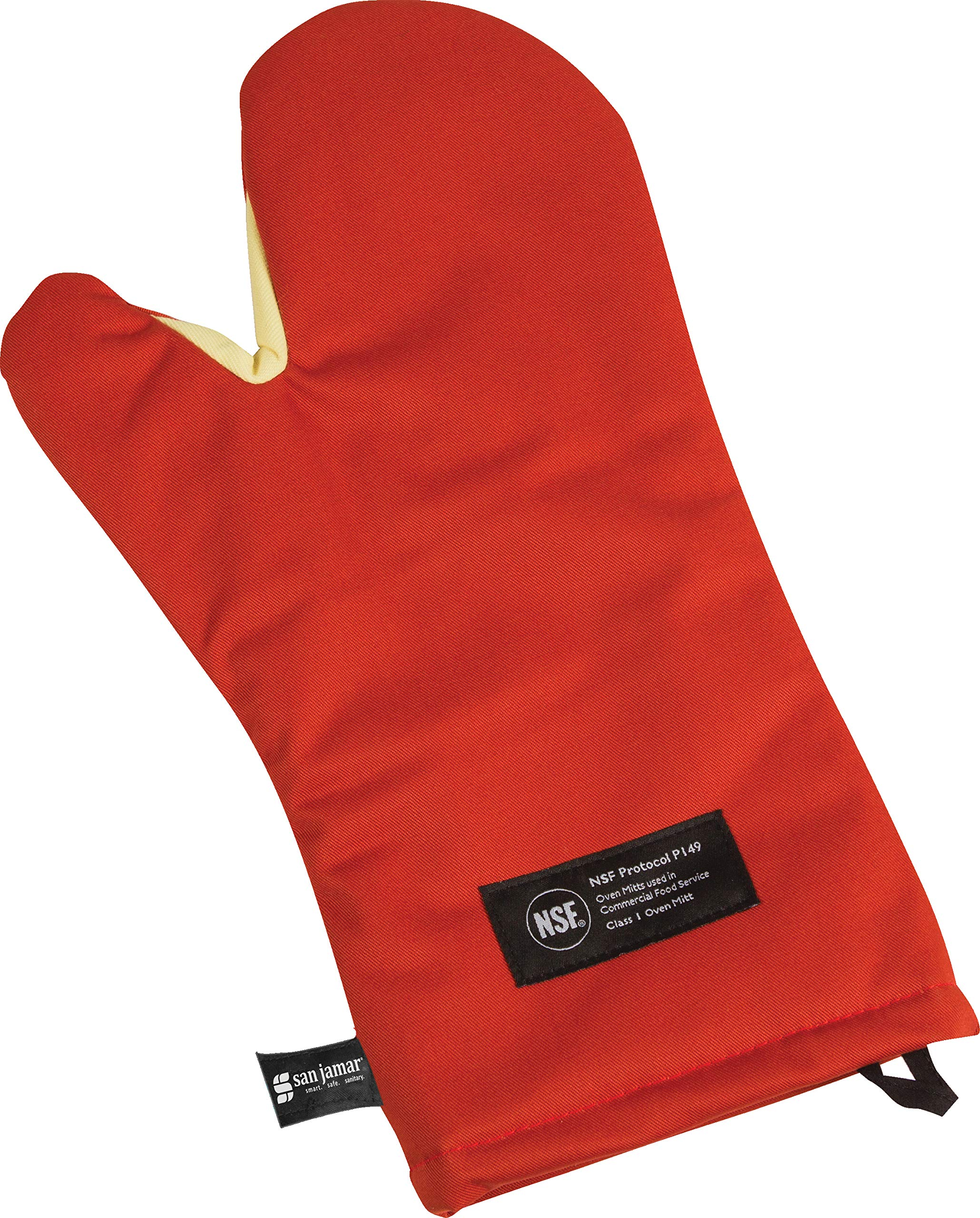 San Jamar CTC15 Cool Touch Conventional Oven Mitt Heat Protection up to 500° F, 15'' Length, Red