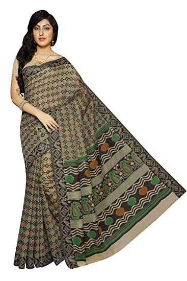 c9d5fd989e Rani Saahiba Resham Border Gadwal Poly Cotton Printed Saree(SKR1856_Beige -  Black): Amazon.in: Clothing & Accessories
