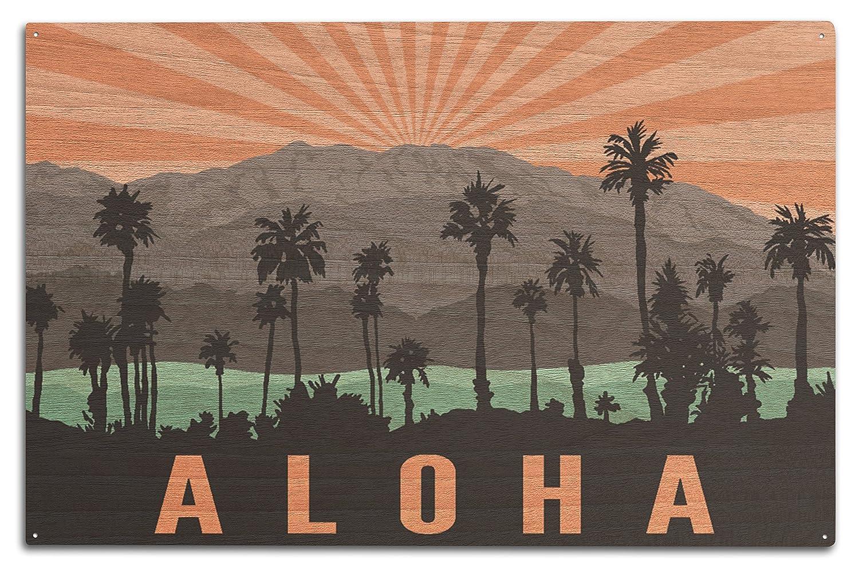 Aloha – ヤシの木と山 10 x 15 Wood Sign LANT-75871-10x15W 10 x 15 Wood Sign  B07369HNCN