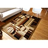 Feraghan/New City hil1031brown_10x13 New City Brand New Contemporary Modern Squares Circles Area Rug, 9' x 12', Brown/Beige