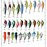 LotFancy 30 PCS Fishing Lures Crankbaits Hooks Minnow Baits Tackle, Length From 1.57 to 3.66 Inches