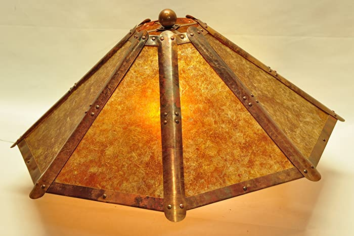 Amazon copper and clear amber mica 8 panel lamp shade craftsman copper and clear amber mica 8 panel lamp shade craftsman mission bungalow arts crafts revival aloadofball