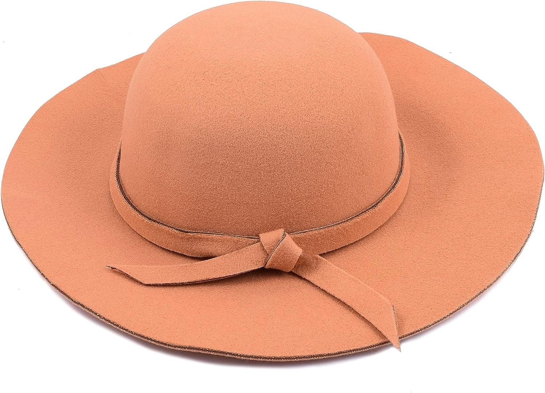 Yuhuan Kids Girls Vintage Wool Blend Wide Brim Felt Bowler Cap Floppy Hat Sun Hat