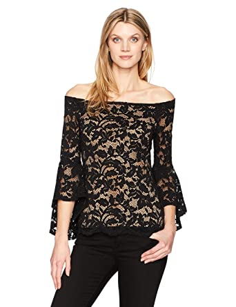 d26e29419e25a Karen Kane Women s Off-The- Off-The-Shoulder Bell Sleeve Top at Amazon  Women s Clothing store