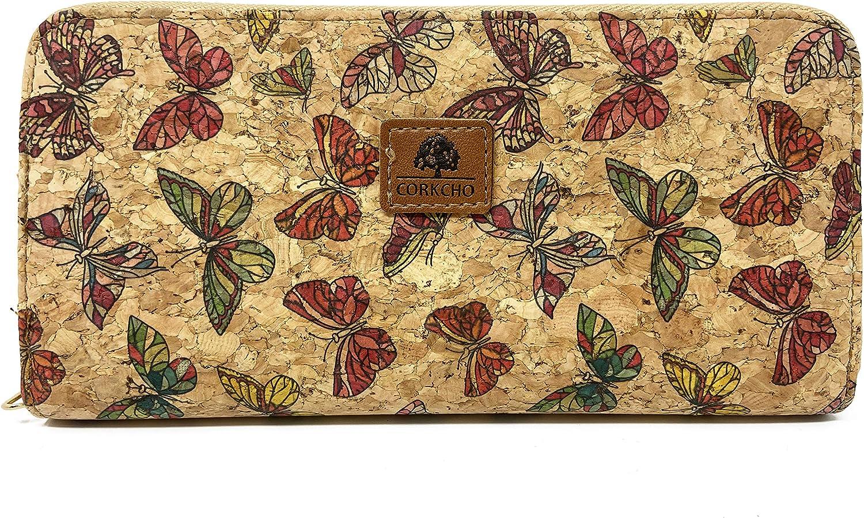 CORKCHO Monederos Mujer Grande – Cartera Mujer de Cuero Sintético y Corcho Natural – Billetera Con Cremallera Diseños Florales Ranuras Para Tarjetas y Bolsillo Internos