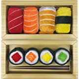 Sushi Toys for Cats, Kittens Catnip Toy Crinkle Paper Bells Rattle 8pc Set Cat Lover Gift Idea for Women, Men in Bento Style Box Packaging Maki Nigiri