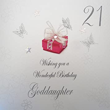 WHITE COTTON CARDS 21 Wishing You A Wonderful Handmade Birthday Card Goddaughter 21st
