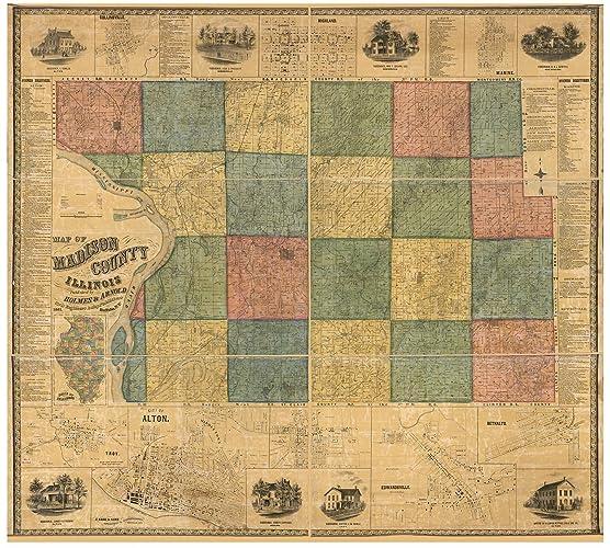 Amazon Com Madison County Illinois 1861 Wall Map With Homeowner