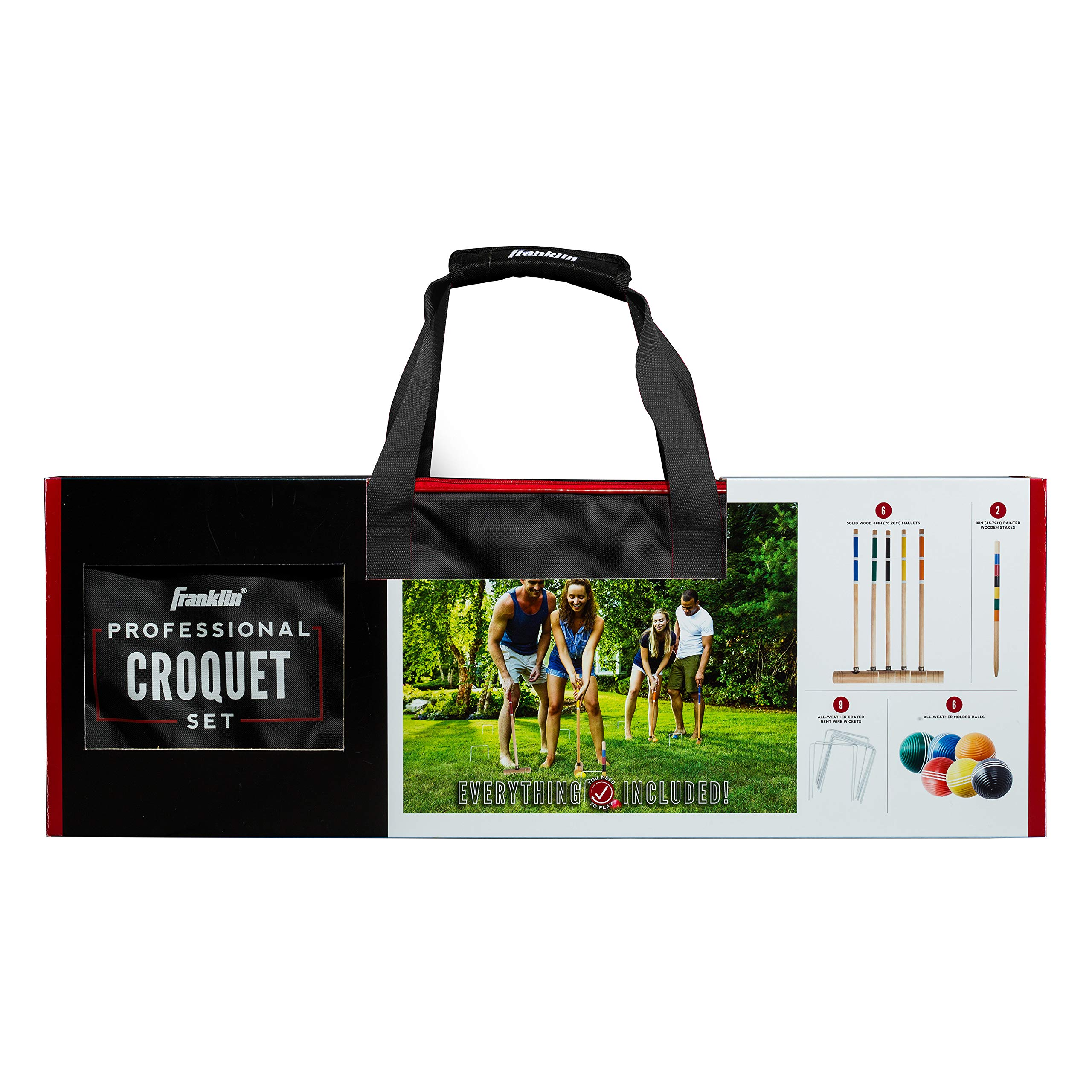 Franklin Sports Croquet Set - Up to 6 Players - Professional Quality Croquet Set for Lawn Games - Complete Croquet Set with Carrying Case - Includes Wooden Mallets, Durable Balls, Weatherproof Wickets by Franklin Sports (Image #5)