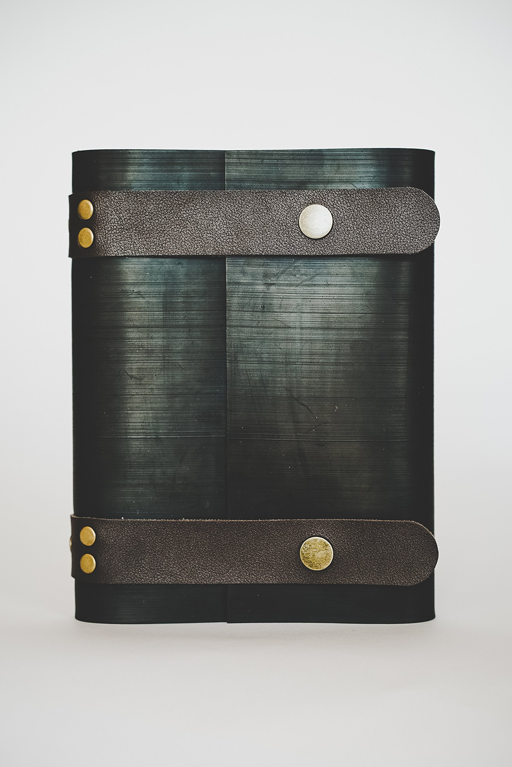 STREAMLET NOTEBOOK BULLET JOURNAL FROM RECYCLED TIRES. 100% Environmentally Smart. Handmade with Tire Cover, Vegan Leather Straps, 8x6 Inches, 240 Blank Pages. Compare to Quality Leather COFFEE