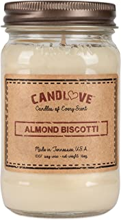 """product image for Candlove """"Almond Biscotti"""" Scented 16oz Mason Jar Candle 100% Soy Made in The USA"""