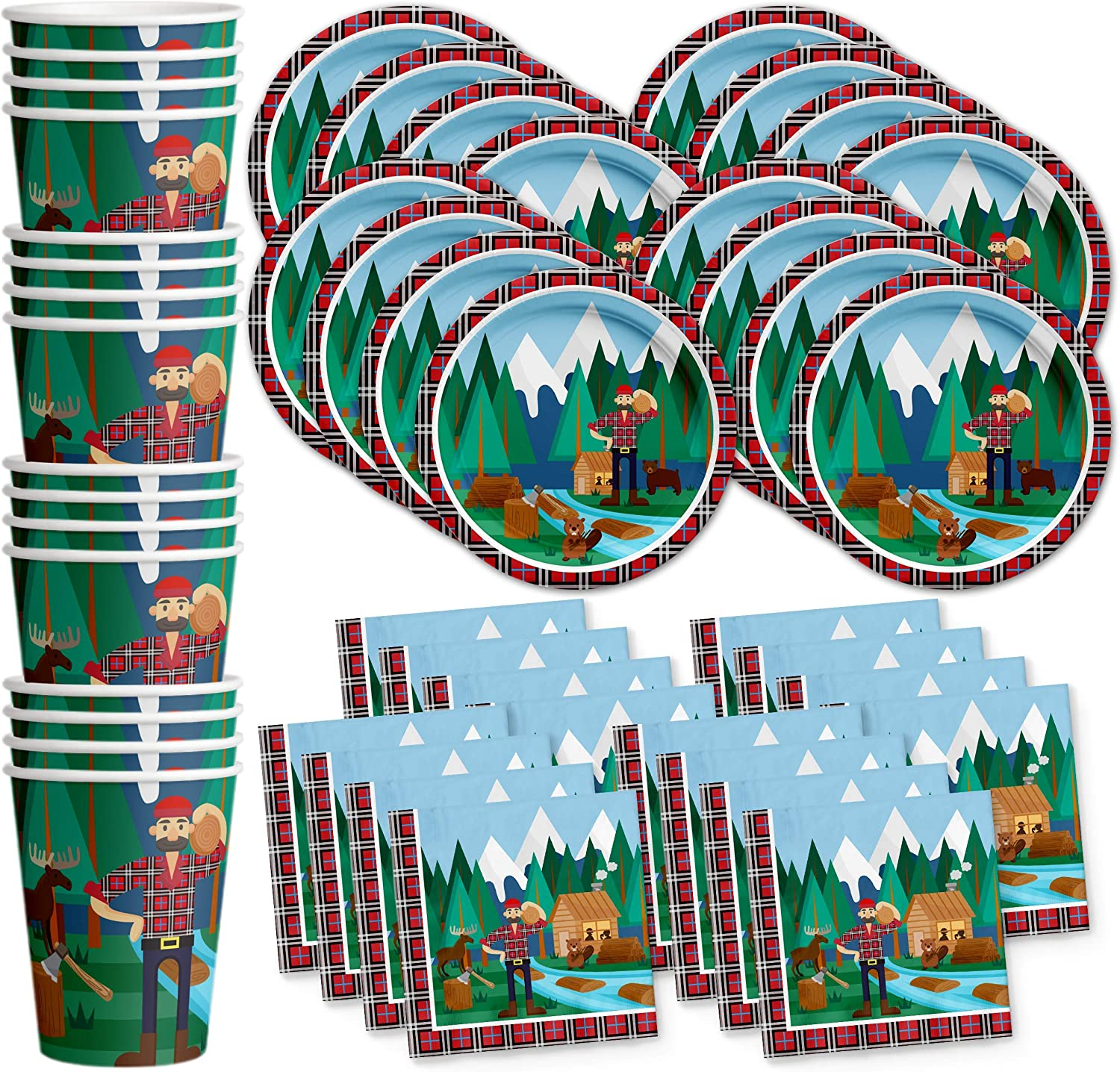 Lumberjack Birthday Party Supplies Set Plates Napkins Cups Tableware Kit for 16