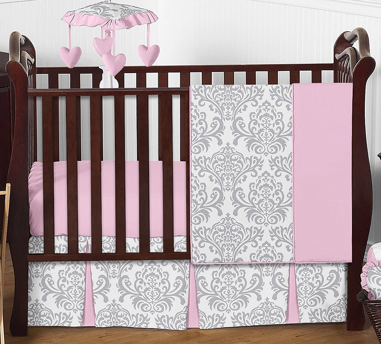 Sweet Jojo Designs Pink, Gray and White Elizabeth Baby Girl Bedding 4pc Crib Set Without Bumper