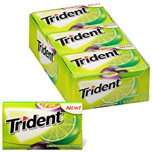 Trident Lime Passion Fruit Twist Sugar Free Gum, Made with Xylitol, 12 Packs of 14 Pieces (168 Total Pieces)