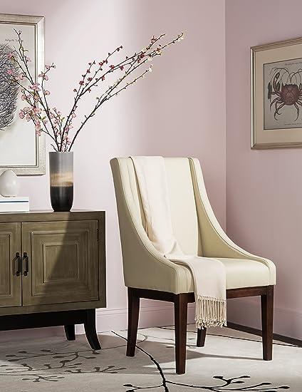 Safavieh Mercer Collection Mario Leather Arm Chair Cream