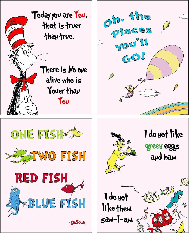 Dr Seuss Set of four ART Prints - Kids Baby Nursery Room Decor (Pink)
