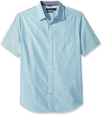 b5ed3a30fa Nautica Men's Short Sleeve Classic Fit Striped Button Down Shirt, Light  Haze, Large