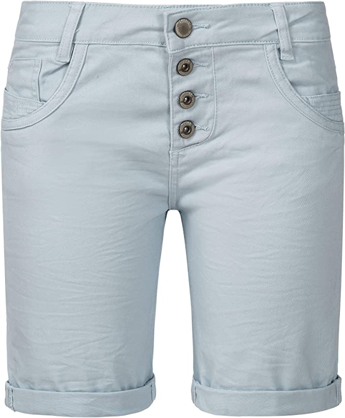Sublevel Damen Denim Bermuda Chino Stretch Shorts mit Aufschlag Bequeme Kurze Hose im Used Look
