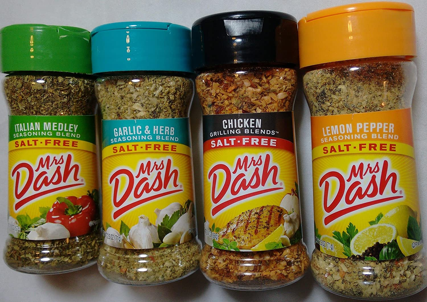 Mrs. Dash Seasoning Blends Variety Flavor 4 Pack, Italian Medley 2.0oz, Garlic & Herb 2.5oz, Chicken Grilling 2.4ozLemon Pepper 2.5 oz