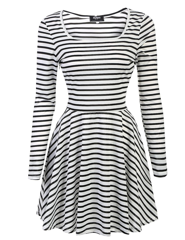 Zeagoo Women Long Sleeve Striped Pleated Casual Flared Swing A Line Short Dress
