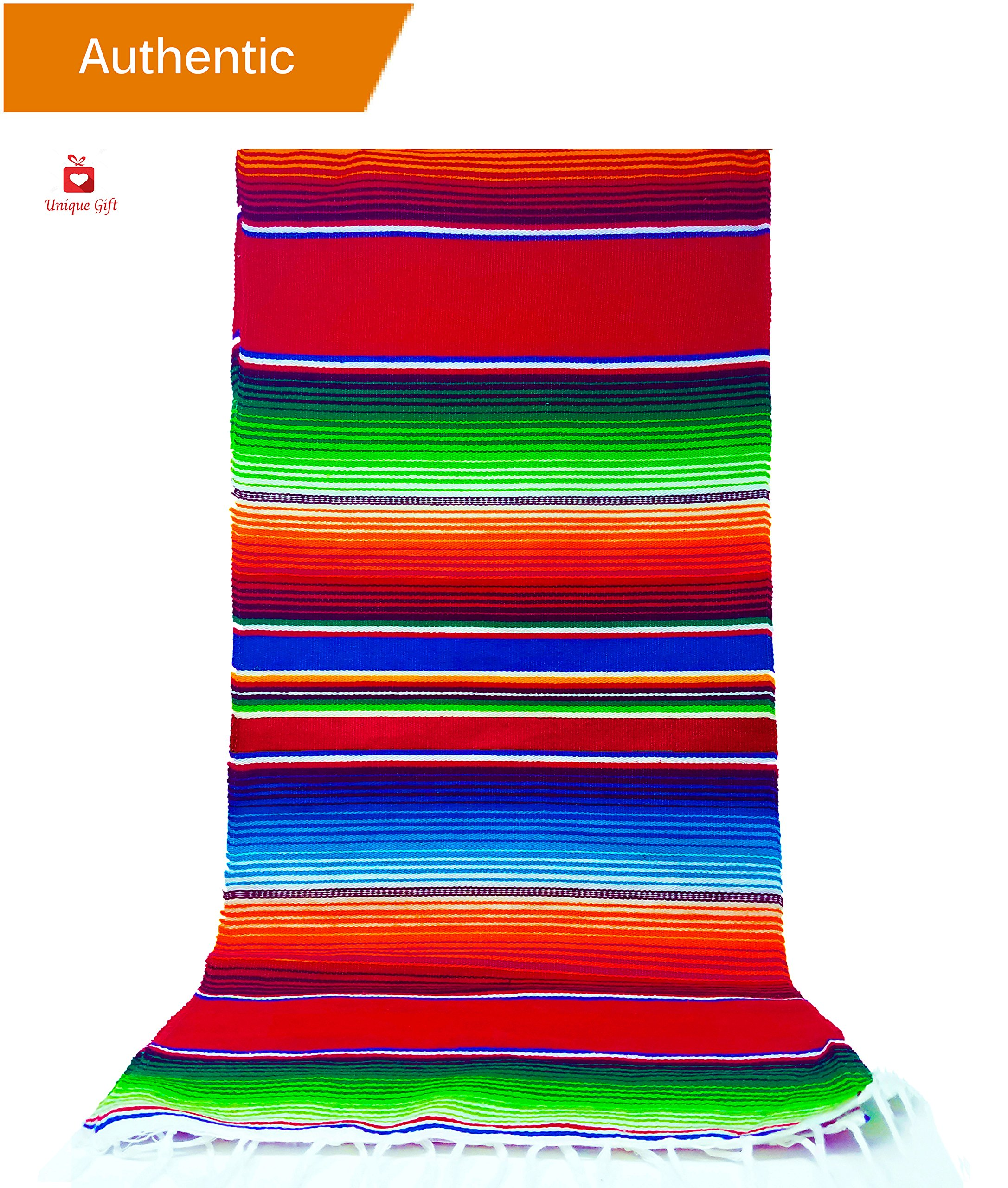 New | Alondra's Imports️ (84'' x 15'') Elegantly Handwoven, Genuine Serape Table Runner (Mexican Table Runner, Fiesta Table Runner, Mexican Blanket, Zarape, Serape) (Lustrous Ruby Red)