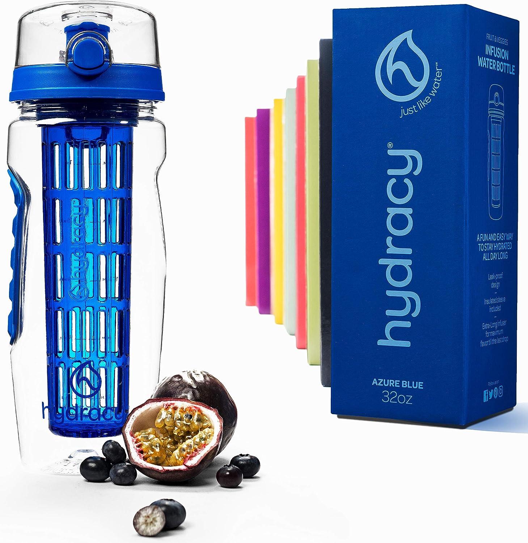 Hydracy Botella de Agua con Filtro infusor para Fruta 1Litro con Funda Aislante antitranspirante - plástico Durable 100% sin BPA ìPerfecta para Hacer Deporte y cuidar tu Salud!