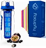 Hydracy Fruit Infuser Water Bottle - 32 oz Sports Bottle - Time Marker & Full Length Infusion Rod + 27 Fruit Infused…