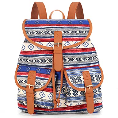 sansarya vintage canvas backpack women girls casual student school bag daypack bohoblue