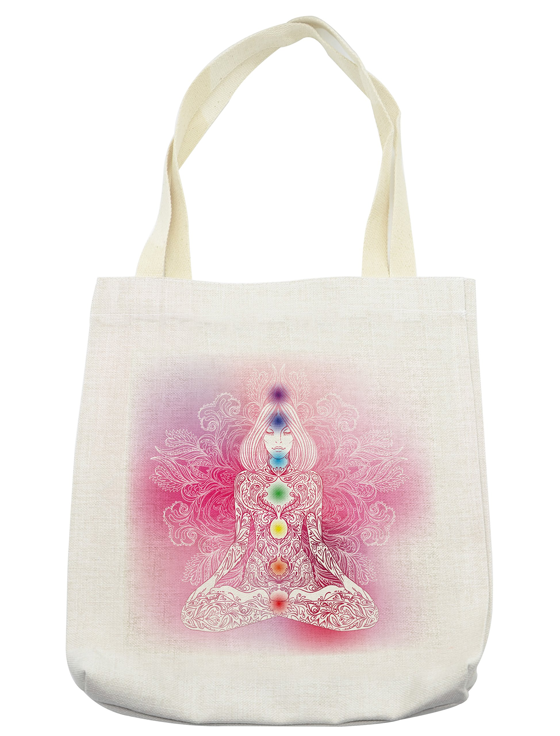 Lunarable Chakra Tote Bag, Mystical Female Character with Lace Inspired Lines Solar System Balance Bohemian, Cloth Linen Reusable Bag for Shopping Groceries Books Beach Travel & More, Cream