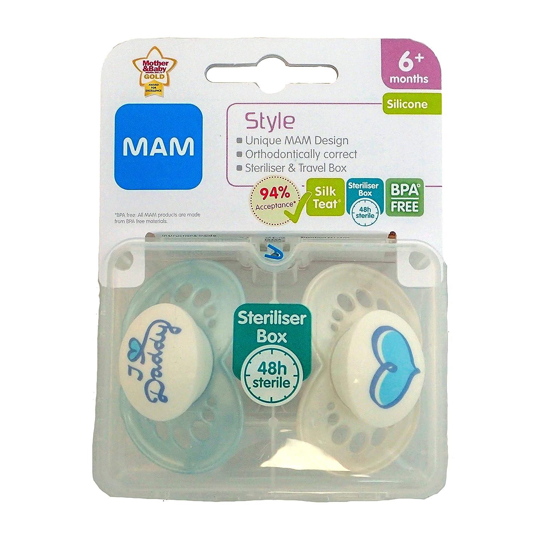 MAM Style - 2 x Chupete I Love Daddy 6m+ (Azul / Blanco ...