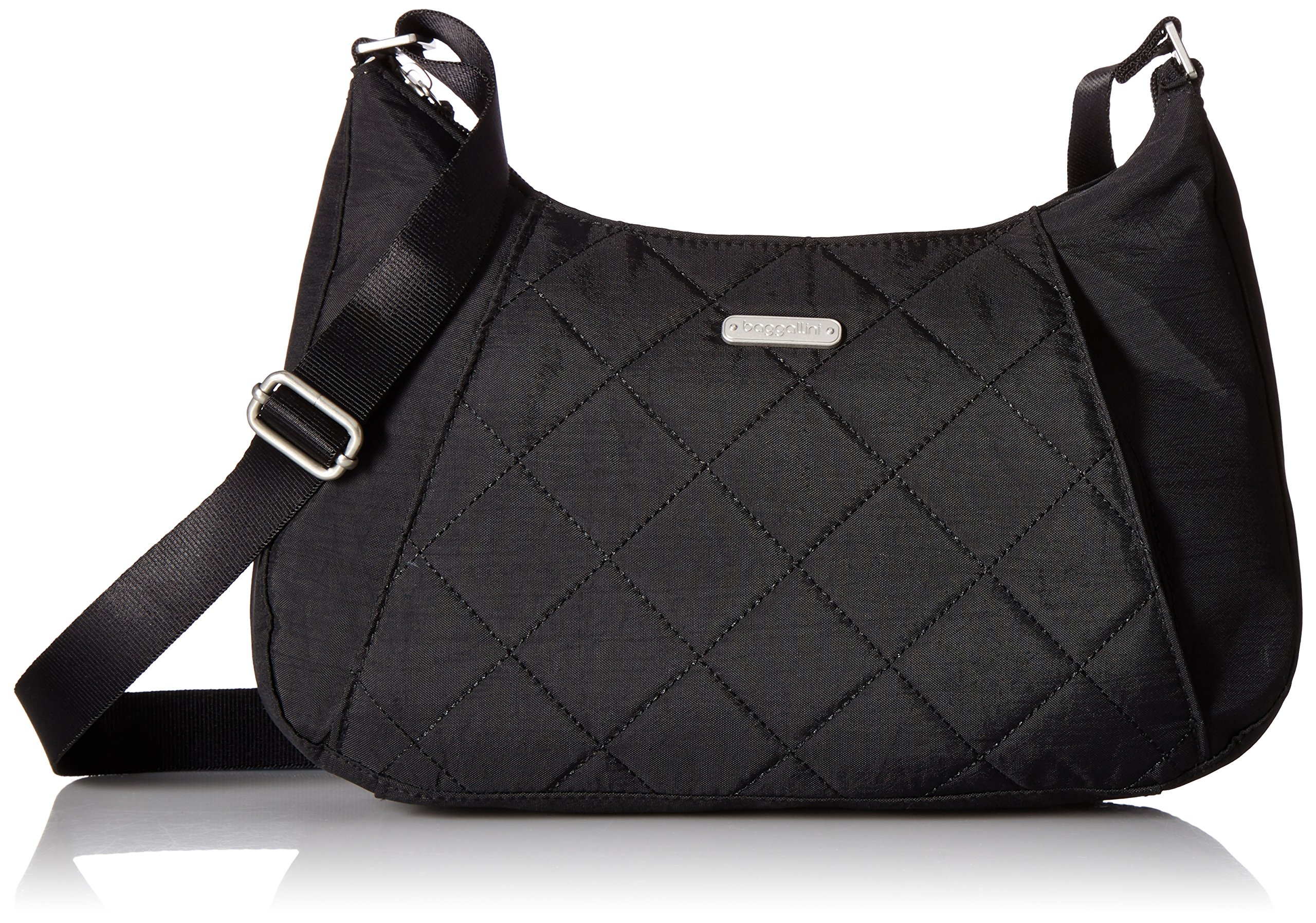 Baggallini Quilted Slim Crossbody Hobo with RFID, Black