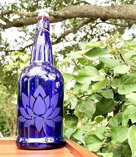 56f11969a0c1 Amazon.com: 32oz. Lotus Flower Etched Cobalt Blue Glass Bottle With ...