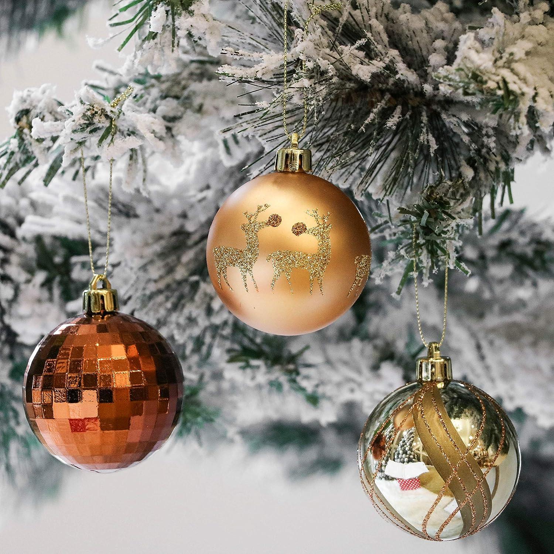 Valery Madelyn Weihnachtskugeln 9 St/ücke 6CM Kunststoff Christbaumkugeln Weihnachtsdeko mit Aufh/änger Weihnachtsbaumschmuck f/ür Weihnachten Dekoration Wald Thema Kupfergold MEHRWEG Verpackung