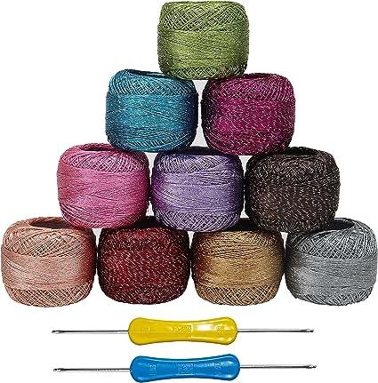 Kurtzy Filato Uncinetto (10 Pezzi) e 2 Ganci Ogni 10 Grammi, 85 Metri Colori Assortiti Filato Cotone Filato Glitter per Ricamo progetti Filati